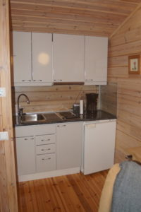 Kitchen in the lakeside sauna building