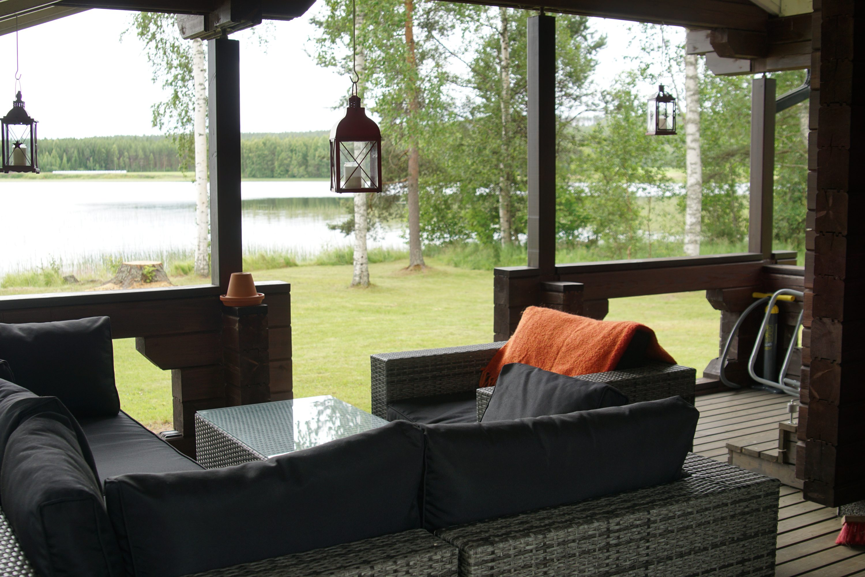 Terrace of the lakeside sauna